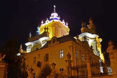 St. George's Cathedral in Lviv at night. — Stockfoto