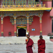 Nepal, Kathmandu, Monks in Nyingmapa buddist monastery near Bodnath stupa — Stock Photo