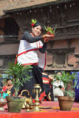 Nepalese woman dancing at the Kathmandu Darbar square. — Stock Photo