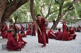Tibet, the famous debate monks in Sera monastery near Lhasa — Stock Photo
