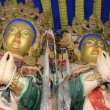 Tibet, Drag  Verpa monastery in the caves not far from Lhasa, sculpture of budda. — Foto de Stock