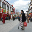 Stock Photo: Tibet, ancient Barkhor Street surrounding Jokhang temple in Lhasa