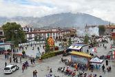 Antiga praça em lhasa, Tibete — Fotografia Stock