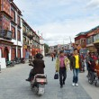 Tibet, panorama of Lhasa. ancient street Barkhor. — Foto de Stock