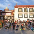 Tibet, Lhasa, Buddhists make prostration (pray) before the first Buddhist temple in Tibet, the Jokhang — Stock Photo #35931061