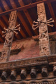 Nepal, Patan, Durbar square, sample the famous Nepali carvings that adorn the ancient Hindu temple — Stock Photo