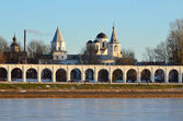Veliky Novgorod, Yaroslav's Court in winter — Stock Photo