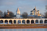 Novgorod, Yaroslav's Court in winter — Stock Photo