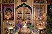 The Interior of the Church in the village of Kolodozero, Karelia for Christmas — Стоковое фото