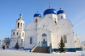 Cathedral of Bogolubskayaj icon of the mother of God , in St. Bogolubsky monastery in Bogolubovo, Vladimir region in winter, Golden ring of Russia — Stock Photo