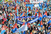 May day demonstration in Red square in Moscow, the year 2014 — Stock Photo