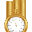 Time is money - vector illustration of stopwatch and gold coins — Stock Vector