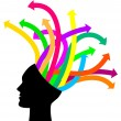 Thoughts and options - vector illustration of head with arrows — Stock Vector