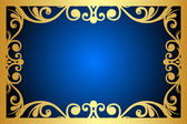Vector floral blue and gold frame — Stock Vector
