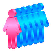 Vector icon of woman leads men — Stock Vector