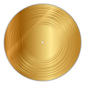 Vector illustration of golden vinyl record — Stock Vector
