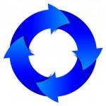 Vector blue arrows circle — Stock Vector