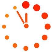 Vector red clock icon — 图库矢量图片