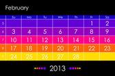Vector calendar 2013 - February — Stock Vector
