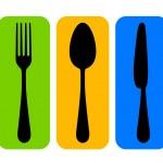 Vector colorful cutlery icon — Stock Vector