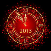 Vector illustration of red and gold New Year clock — Stockvektor