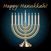 "Vector ""Happy Hanukkah!"" turquoise wish card with Hanukkah Menor — Stockvektor"