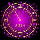 Vector illustration of purple New Year clock — Stock Vector