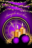 Vector purple christmas background with candles and clock — Stock Vector