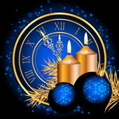 Vector blue and gold christmas background — Stock Vector