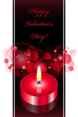 Vector romantic background with red candle — Stok Vektör
