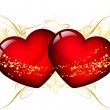 Vector illustration of two red hearts — Stock Vector