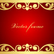 Vector red and gold floral frame - Stock Vector