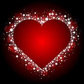 Quadro de vector vermelho com coração brilhante — Vetorial Stock