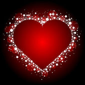 Vektor röd ram med skinande hjärta — Stockvektor