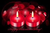 Vector romantic background with two candles — Stok Vektör