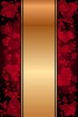 Vector fundo vermelho e ouro com corações — Vetorial Stock