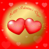 """Vector red and gold """"Happy Valentines Day"""" background — Stock Vector"""