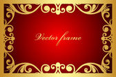 Vector red and gold floral frame — Vector de stock