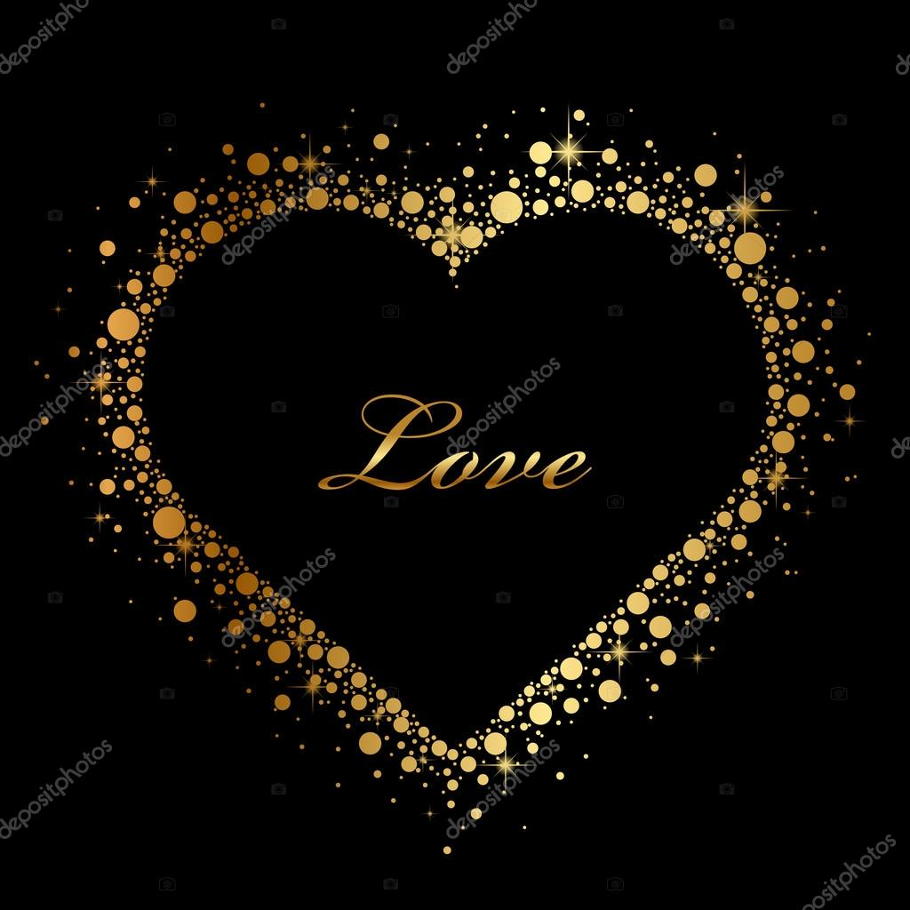 Vector black background with glowing heart — Stock Vector #19541759
