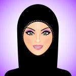Vector illustration of arab woman in black — Stock Vector