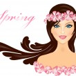 Vector illustration of girl with flowers — Stock Vector