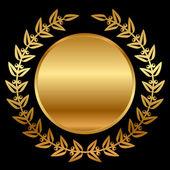 Vector gold laurels on black — Stock Vector