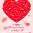 Happy Valentines Day - Vector card with hearts — Stock Vector