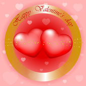 """Happy Valentines Day"" vector gold and red background — Stock Vector"