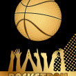 Vector black and gold basketball background — Stock Vector