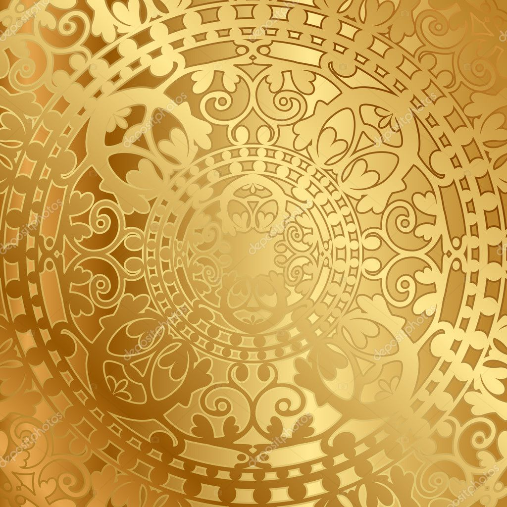 Vector gold background with oriental decoration stock for Decoration orientale