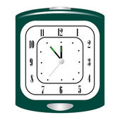 Vector illustration of green alarm clock — Vector de stock