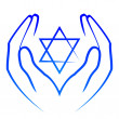 Stock Vector: Vector icon - hands holdin star of David
