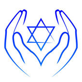 Vector icon - hands holdin star of David — Stock Vector