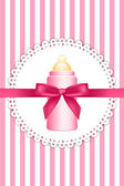 Vector pink background with bow and baby bottle — Stock Vector